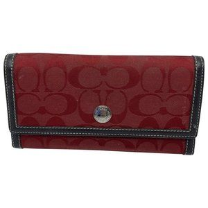 Coach Red Black Signature Leather Tri Fold Wallet